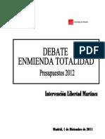 Discurso Enmienda Totalidad Presupuestos de la Comunidad de Madrid 2012