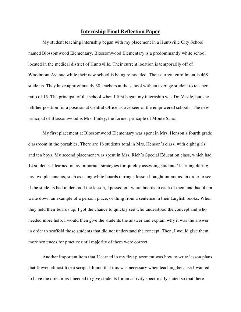 internship final reflection paper | Educational Assessment