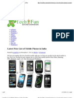Latest Price List of Mobile Phones in India