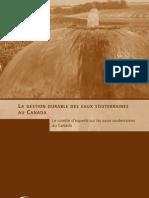 La gestion durable des eaux souterraines au Canada
