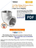 !!! Cyber Monday Best Deals Stainless Steel 316 Cast Pipe Fitting, 90 Degree Elbow, Class 150, 1-1 2 NPT Female