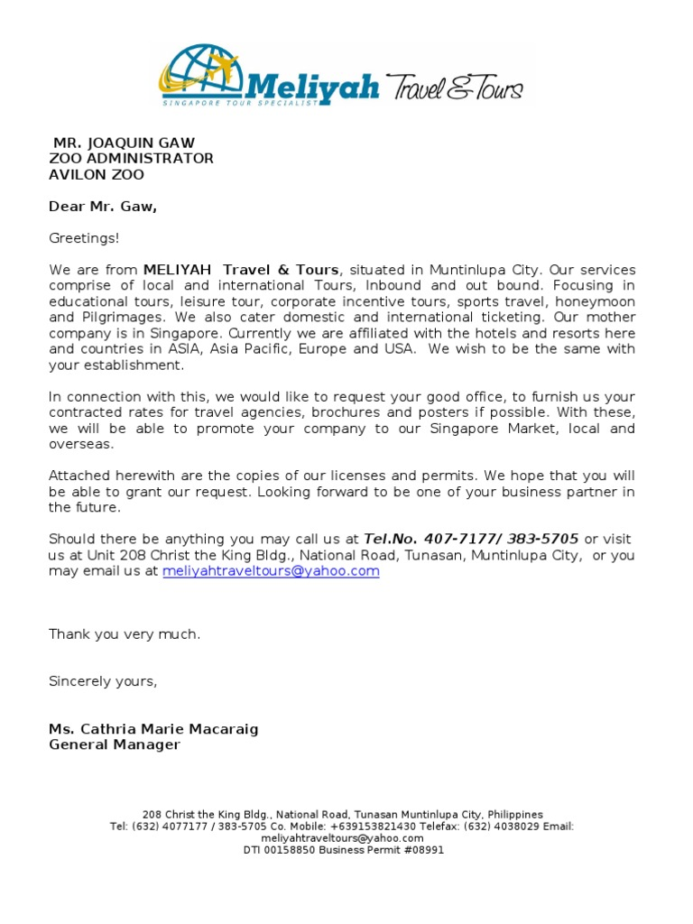 sample business proposal letter to start a travel agency We are from meliyah travel & tours, situated in muntinlupa city our ser   our mother company is in singapore  sample proposal letter for partnership.