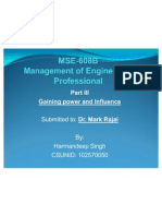 MSE 608B Mid Term Part 3(Gaining Power and Influence)