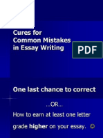 Cures for Common Mistakes in Essay Writing