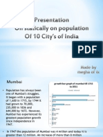Statically on population Of 10 City's of India