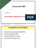 SCI3133 Lec 3 Economic Order Quantity