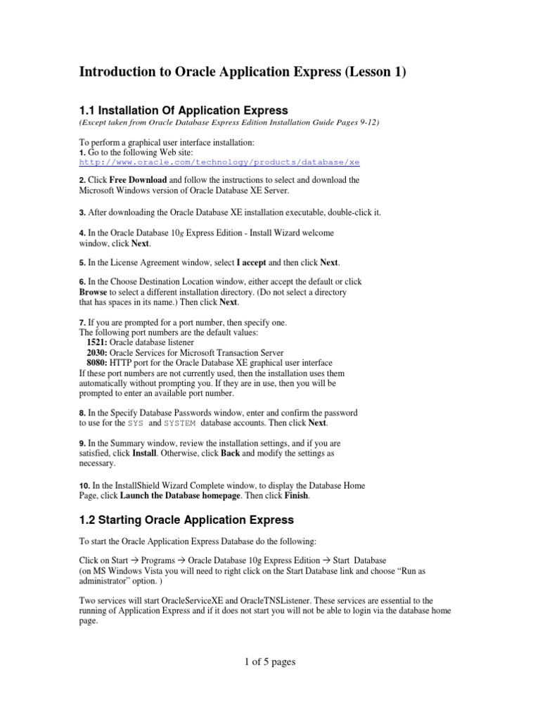 Lesson 1 - Introduction to Application Express   Oracle