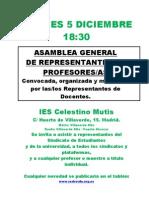 Cartel Asamblea General Del Profesorado 5 Dic