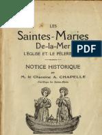 Les SAINTES MARIES de LA MER Notice Historique A Chapelle Marseille 1926