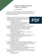 TEMARIO DE LA ESPECIALIDAD DE FÍSICA Y QUÍMICA