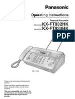 Panasonic Personal Facsimile Operating Instructions 7581