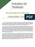 Lista R-Evolución Y Acción - Programa de Trabajo FEULS 2012