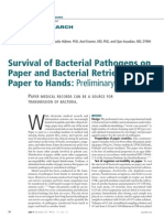 Survival of Bacterial Pathogens on Paper and Bacterial Retrieval from Paper to Hands | American Journal of Nursing | December 2011
