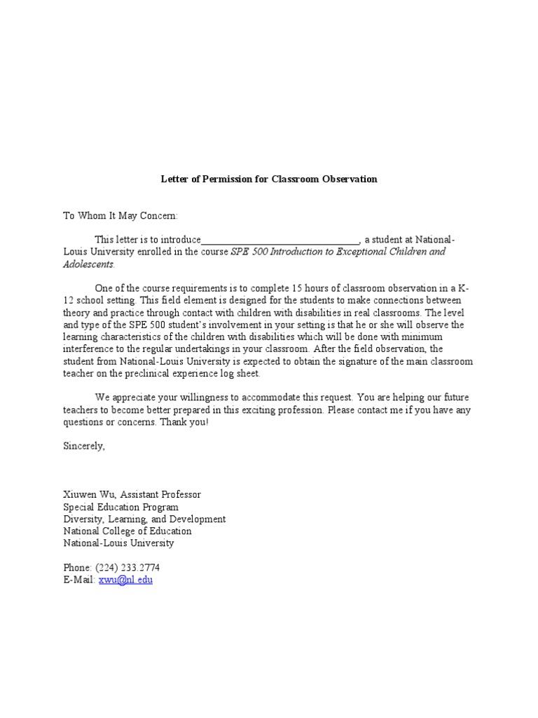 Letter of permission for classroom observation spiritdancerdesigns Images