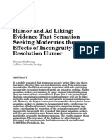 Humor and Ad Liking Evidence That Sensation Seeking Moderates the Effects