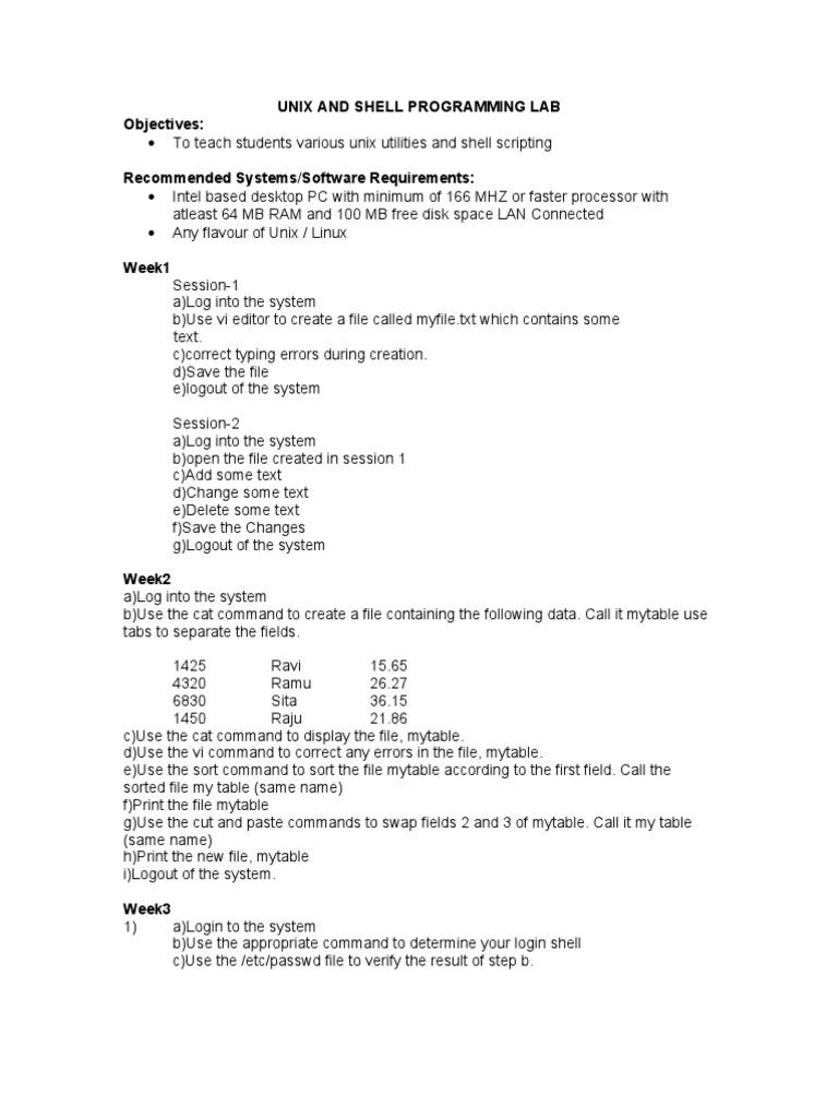 Syllabus 07 08 It II-i Unix and Shell Programming Lab | Command Line  Interface | Computer File
