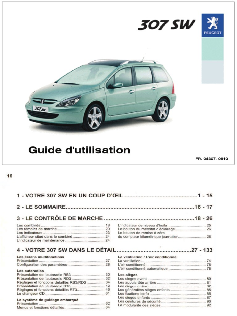 guide utilisation peugeot 307 sw 2004. Black Bedroom Furniture Sets. Home Design Ideas