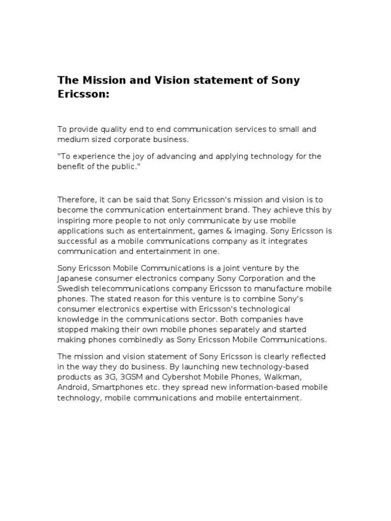 sony ericsson mission and vision statement