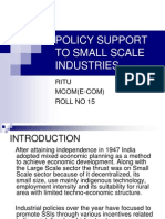 Policy Support to Small Scale Industries