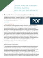 Towards Geospatial Cultural Planning