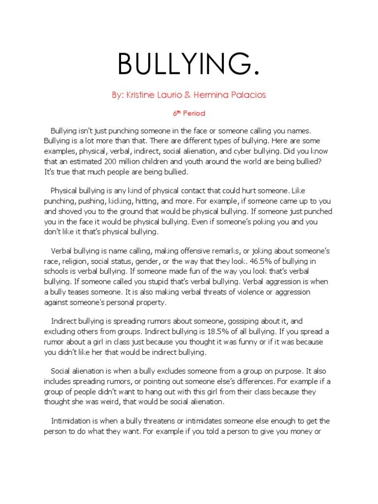 Bullying research paper bullying cyberbullying