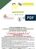Convocatoria Para La Ix Reunion Regional. La Soberania Aliment Aria y Los Trangenicos