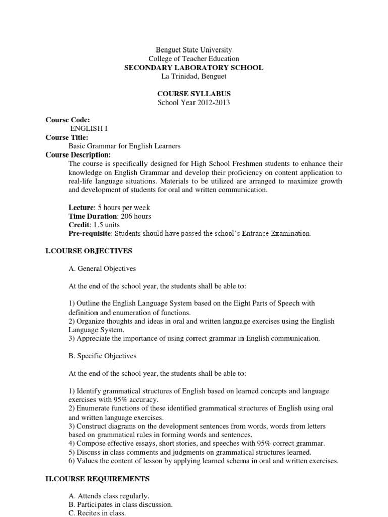 worksheet Parts Of Speech Worksheets High School benguet state university english language grammar