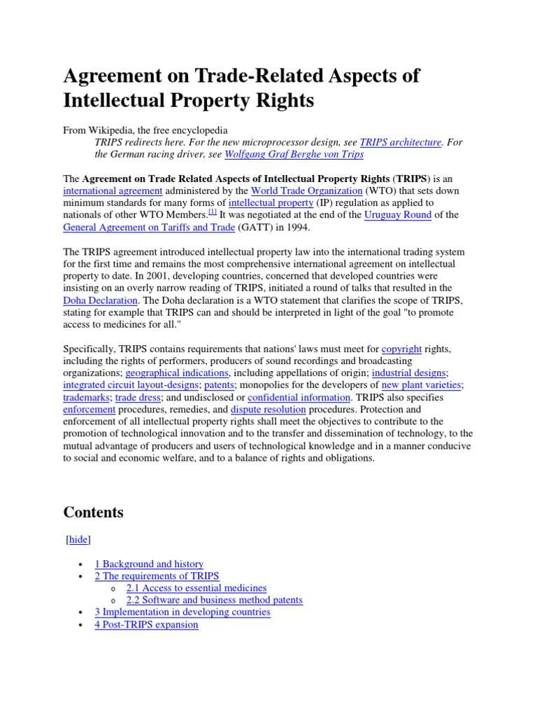 Agreement On Trips Trips Agreement Intellectual Property