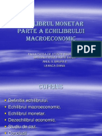 Echilibrul Monetar Parte a Echilibrului Macro Economic