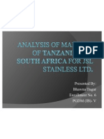 Analysis of Markets of Tanzania and South Africa