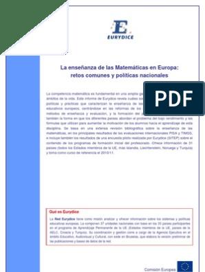 Eurydice La Enseñanza De Las Matemáticas En Europa Resumen E