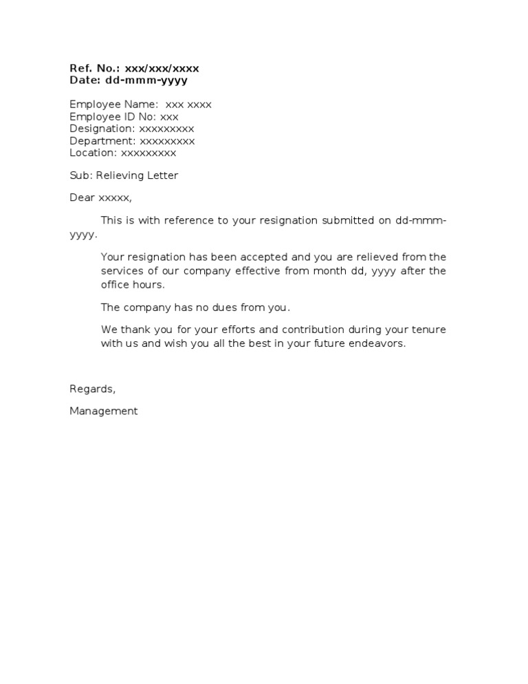 Relieving Letter - Format