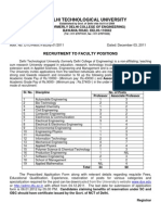 Advertisement for the Post of Professor and Associate Professor in DTU