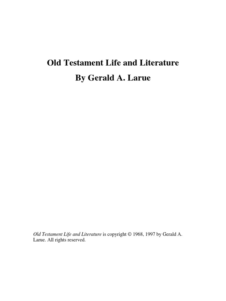 Old Testament Life and Literature - Gerald A. Larue | Apocrypha | Biblical  Canon
