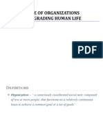 Role of Organizations in Degrading Human Life
