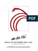 Van Den Hul Pricelist 2009 2010