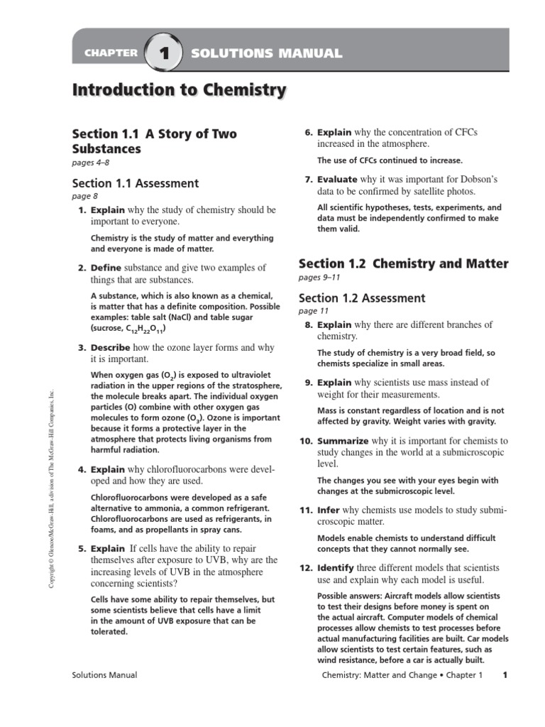 Chemistry a study of matter worksheet solutions introduction answer key
