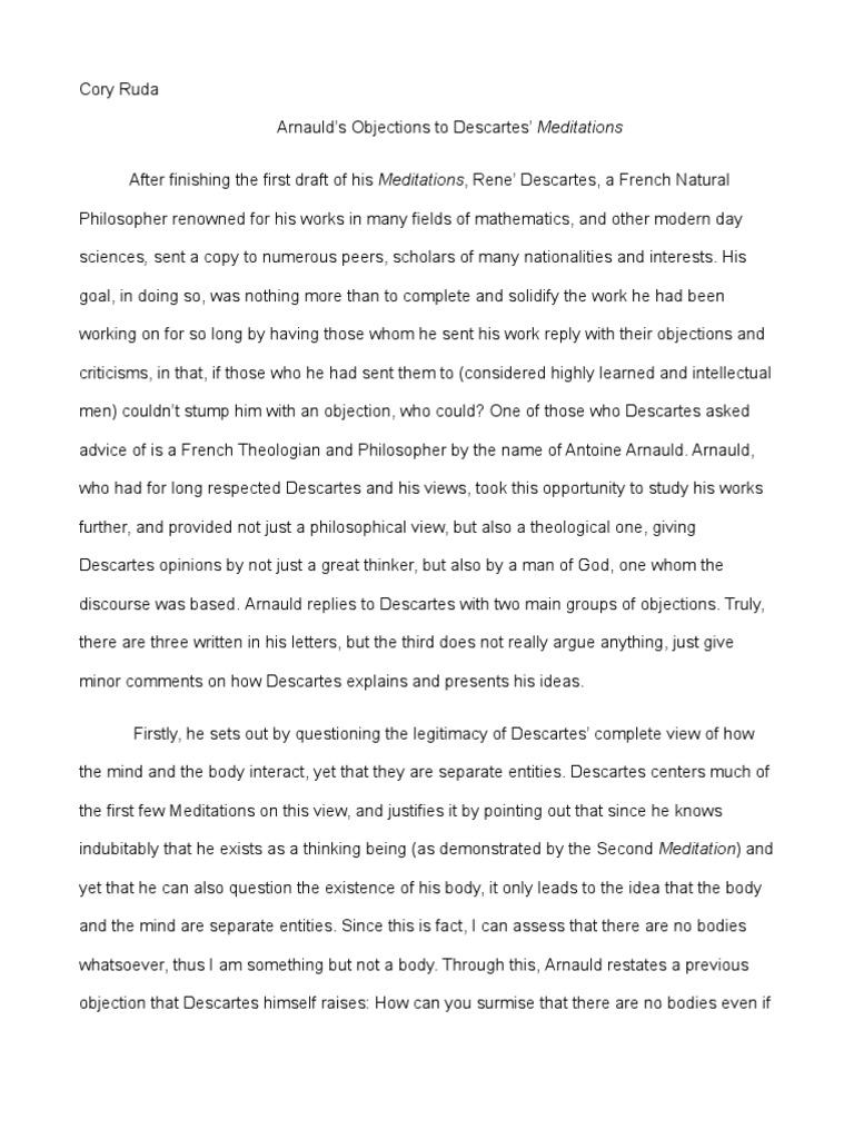 arnauld u0026 39 s objections to descartes