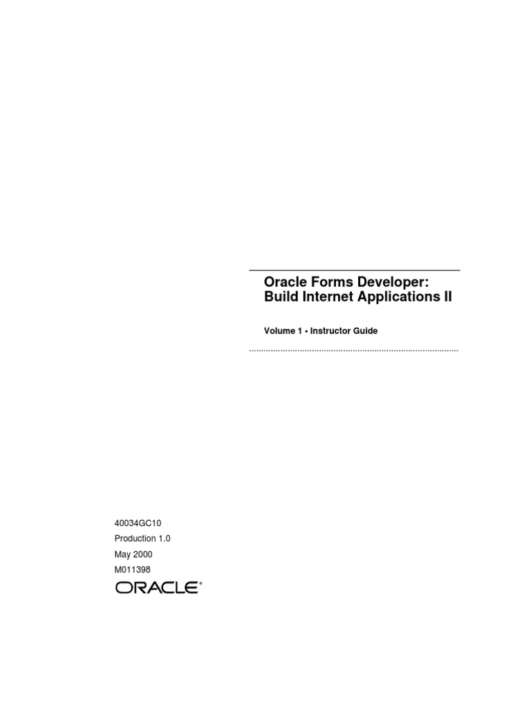 Oracle Forms Developer Build Internet Applications 2-Volume 1 Instructor  Guide   Oracle Database   Menu (Computing)