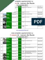 Lista Apartamentelor Cu 2 Camere de Vanzare Din Bacau La 14 Noiembrie 2011 (Download PDF)