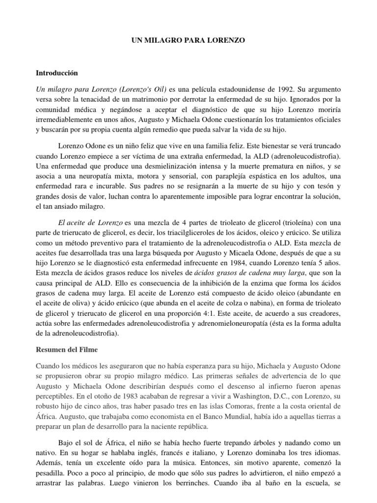 Un Milagro Para Lorenzo Especialidades Medicas Medicina Clinica
