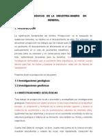 ETAPAS     BÁSICAS   DE  LA   INDUSTRIA MINERA     EN GENERAL