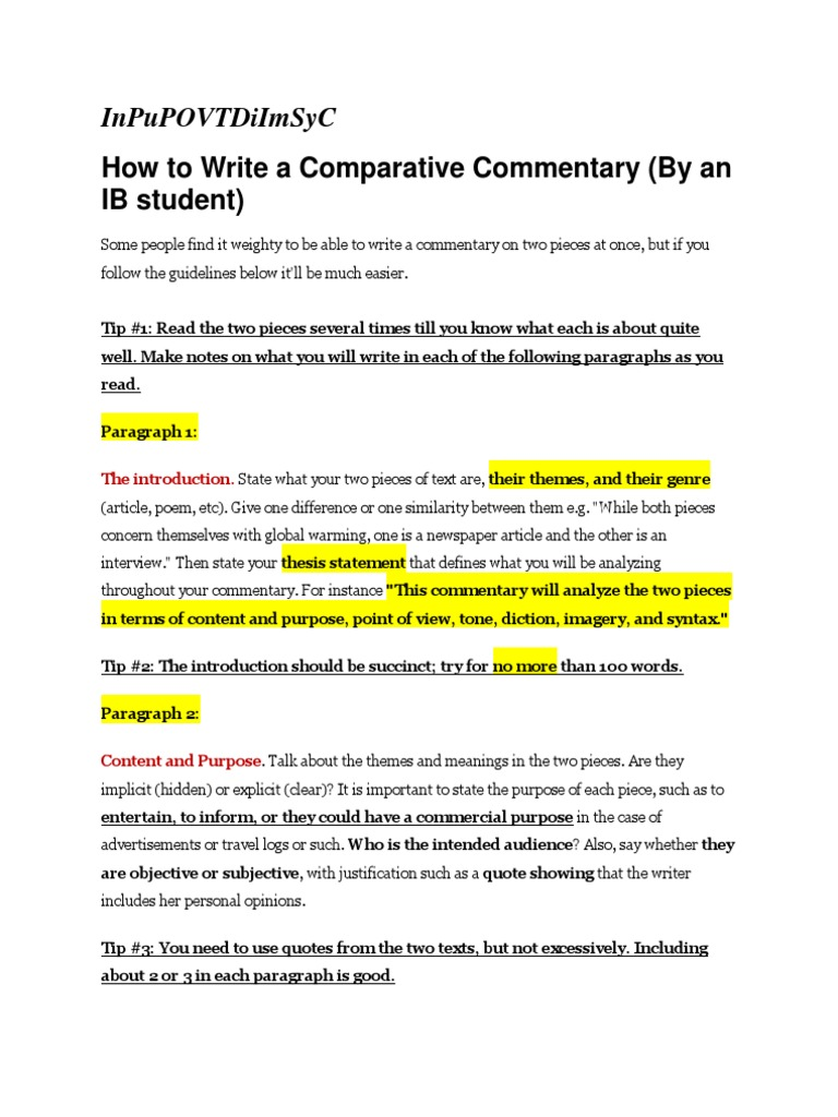 write good essay commentary  commentary essay ipfw edu