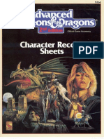 TSR 9264 AD&D Character Record Sheets 2nd Edition