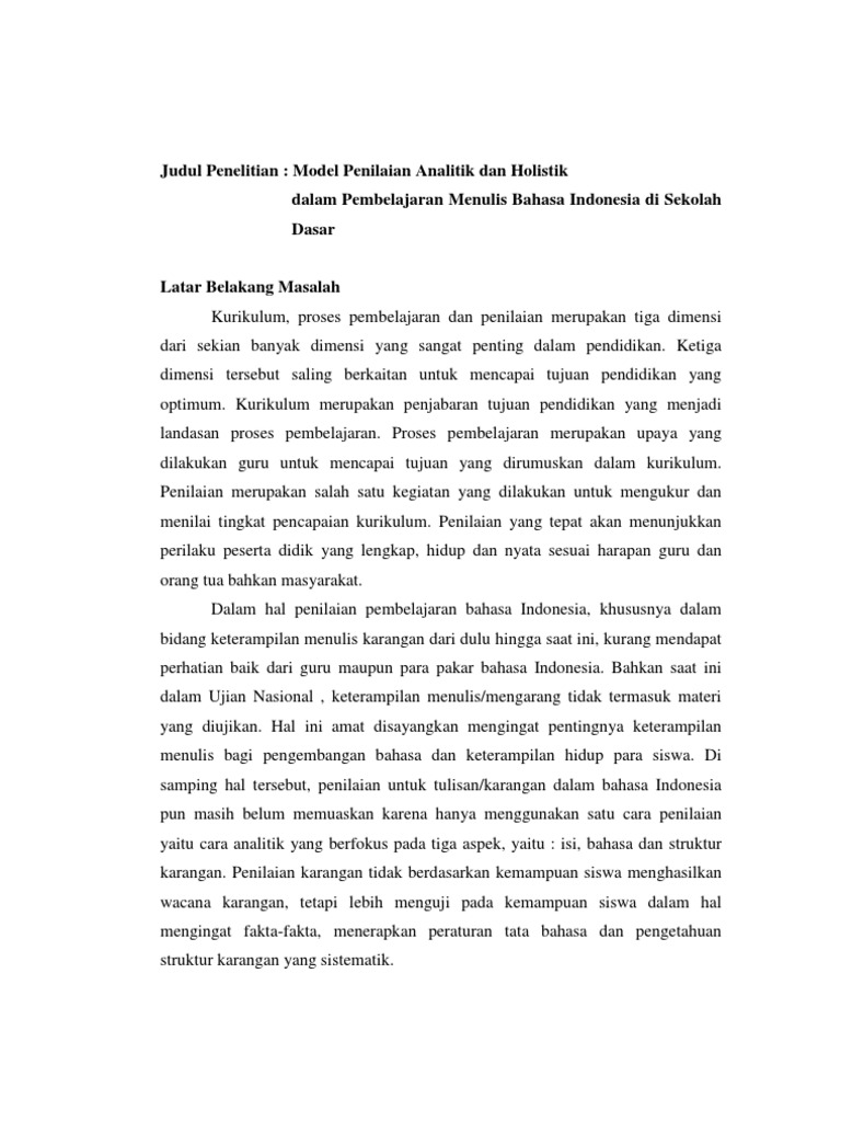 Model Penilaian Analitik Dan Holistik