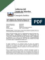 REGLAMENTO DEL REGISTRO PÚBLICO DE LA PROPIEDAD Y COMERCIO DE ESTADO DE MORELOS 2007