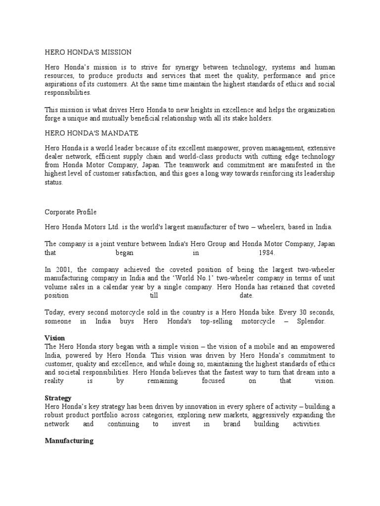 Hero Honda Company Profile