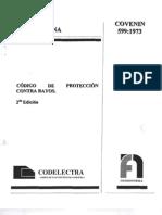 COVENIN 599-73(Codigo Protecciones Rayos)