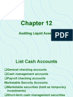 Auditing Chap 12- Audit of Cash & Other Liquid Assets