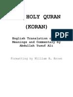English Yusuf Ali Old Quran Verse Notes